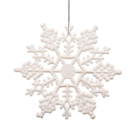 OUTOP Christmas Party Home Holiday Decoration Plastic Glitter Snowflake, 4-Inch,White, 24 Per Box