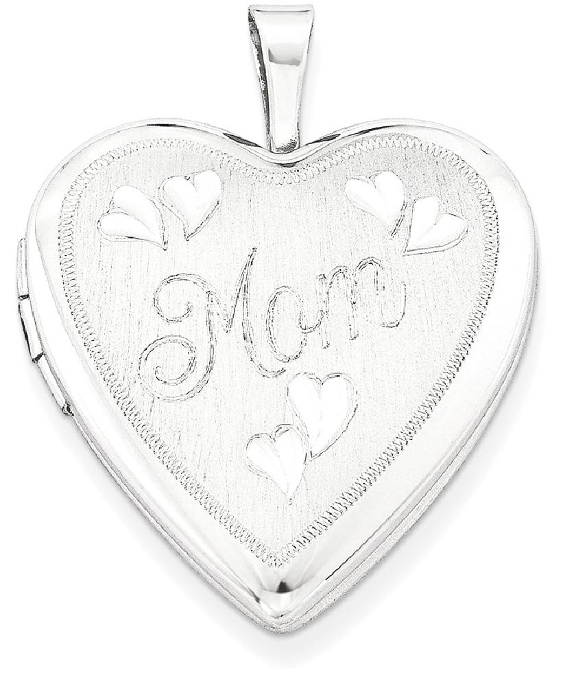 ICE CARATS 925 Sterling Silver 20mm Mom Heart Photo Pendant Charm Locket Chain Necklace That Holds Pictures W chain Fine... by IceCarats Designer Jewelry Gift USA