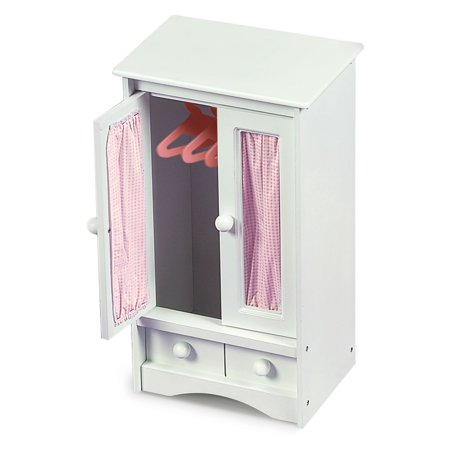 Badger Basket Doll Armoire with Three Hangers - White/Pink - Fits American Girl, My Life As & Most 18