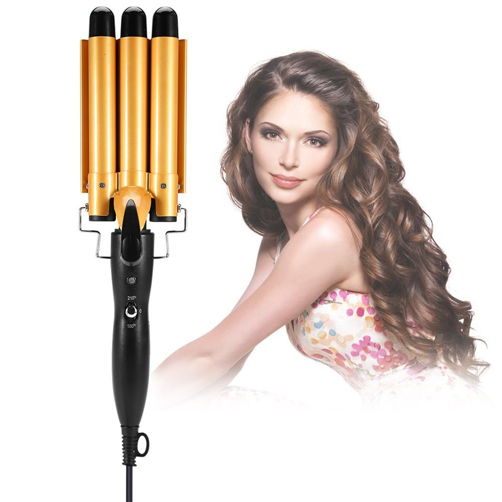 TMISHION Hair Curling Iron, Temperature Adjustable 3 Barrels Ceramic Wave Iron Wand Curler DIY Curly Hair Styling Tools (22mm)