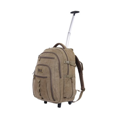 Wheeled Rolling Canvas Backpack w/Telescoping Handle & Laptop Compartment ()