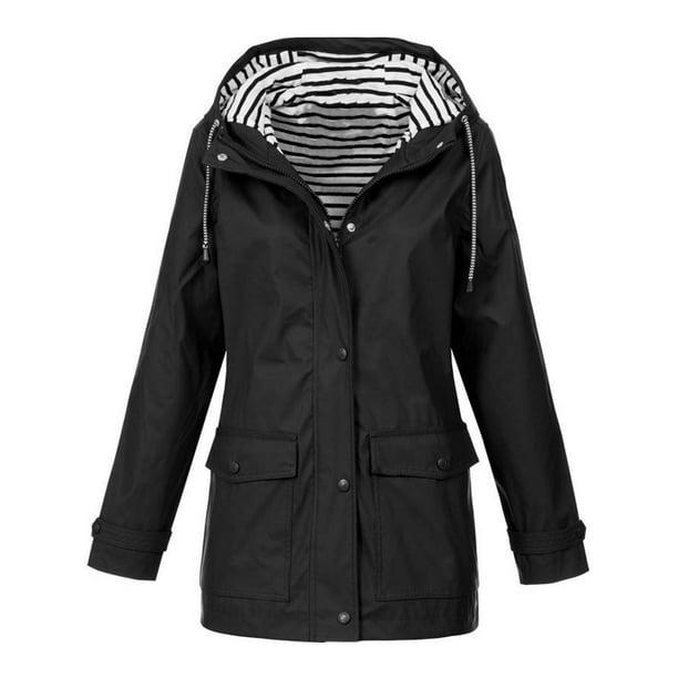 hooded coat : JustVH Women's Waterproof Jacket Hooded Lightweigth Raincoat Active Outdoor Trench Coat