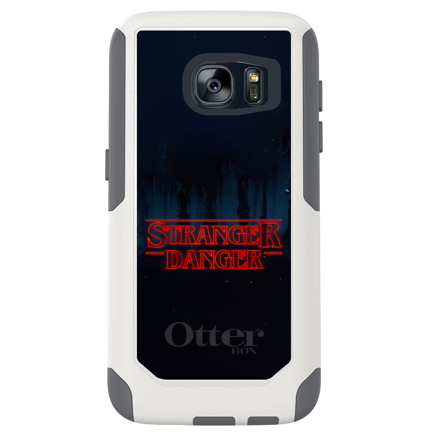 "DistinctInk™ Custom White OtterBox Commuter Series Case for Samsung Galaxy S7 - Red Forest ""Stranger Danger"""