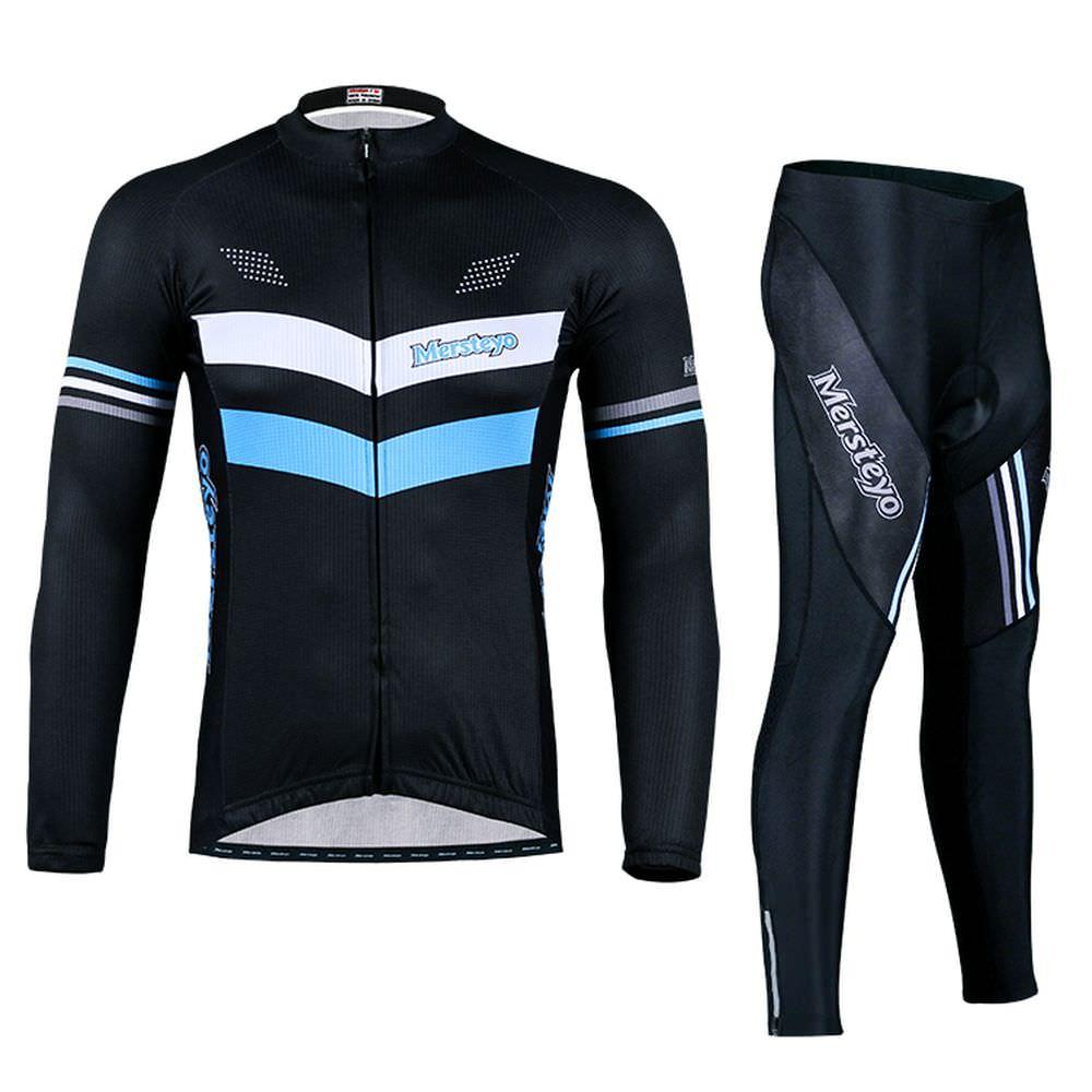 Mersteyo Men's Long Sleeve Cycling Jerseys Mountain Bike Road Bicycle Shirt Biking Jacket Padded Pants Tights by Mersteyo