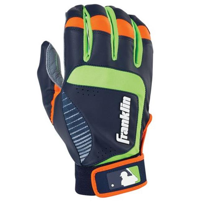 Franklin Sports 20957F1 Shok - Sorb Neo Adult Small Batting Gloves, Gray & Navy & Lime