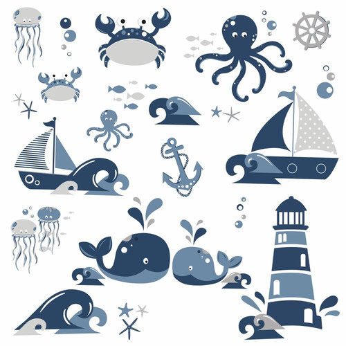Roommates Nautical Sea Friends Peel and Stick Wall Decals