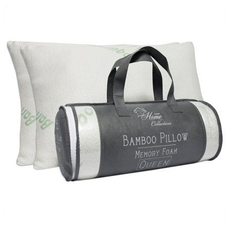 Hypoallergenic Bamboo Memory Foam Bed Pillow with Carry Bag - Set of 2 by Sweet Home Collection