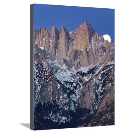 Whitney Design Set - California, Mt. Whitney. Full Moon Sets Behind Mountain Stretched Canvas Print Wall Art By Jaynes Gallery