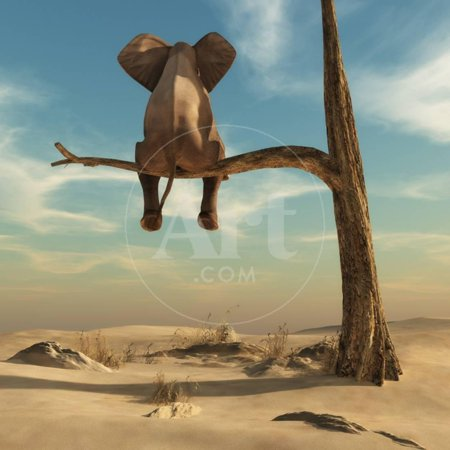 Elephant Stands on Thin Branch of Withered Tree in Surreal Landscape. this is a 3D Render Illustration Fantasy Animal Art Print Wall Art By -
