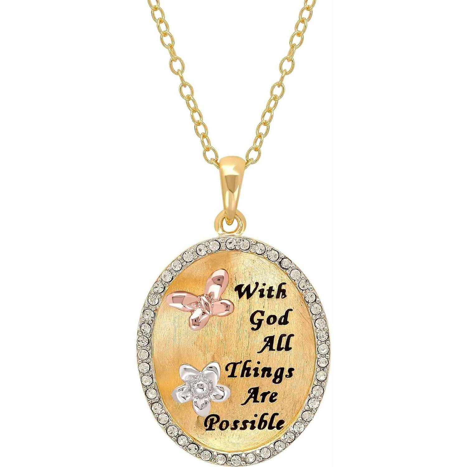 "Sterling Silver and 18K Gold Plate Crystal Border ""With God All Things Are Possible"" Oval Pendant, 18"