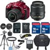 Nikon D5300 DSLR Red Camera Body + 18-55mm VR Lens + HD U.V. Filter + Deluxe Camera Case + Full Size Tripod + Electronic Flash + 2pcs 16GB Memory Cards + Accessory Kit - International Version