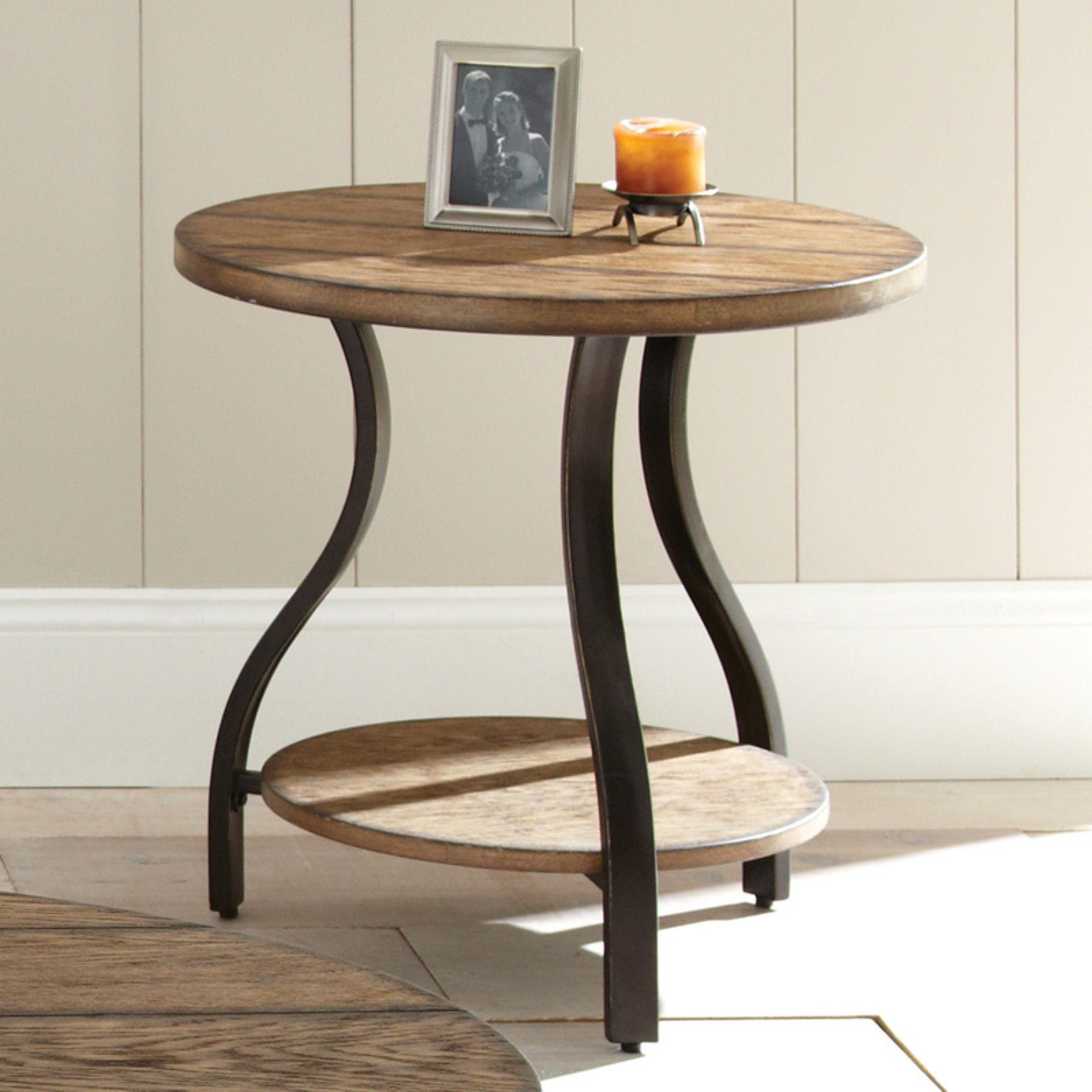 Steve Silver Denise Round Light Oak Wood End Table