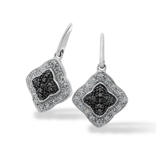 Sterling Silver, 1/5 ctw. Enhanced Black and White Diamond Earrings