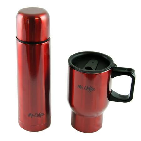Javelin 2 Pc Thermal And Travel Mug Gift Set   Double Wall   Red