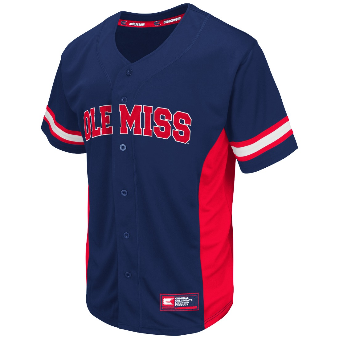 "Mississippi Ole Miss Rebels NCAA ""Strike Zone"" Men's Button Up Baseball Jersey"