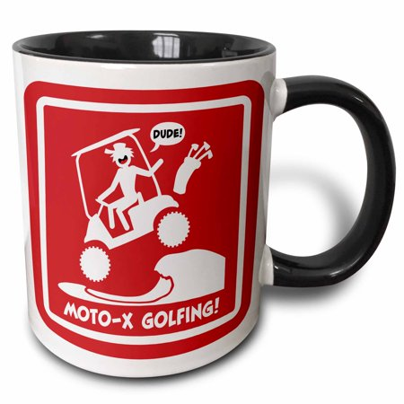 3dRose caution sign of moto-x golf cart over a sand trap, stickman driving - Two Tone Black Mug, 11-ounce