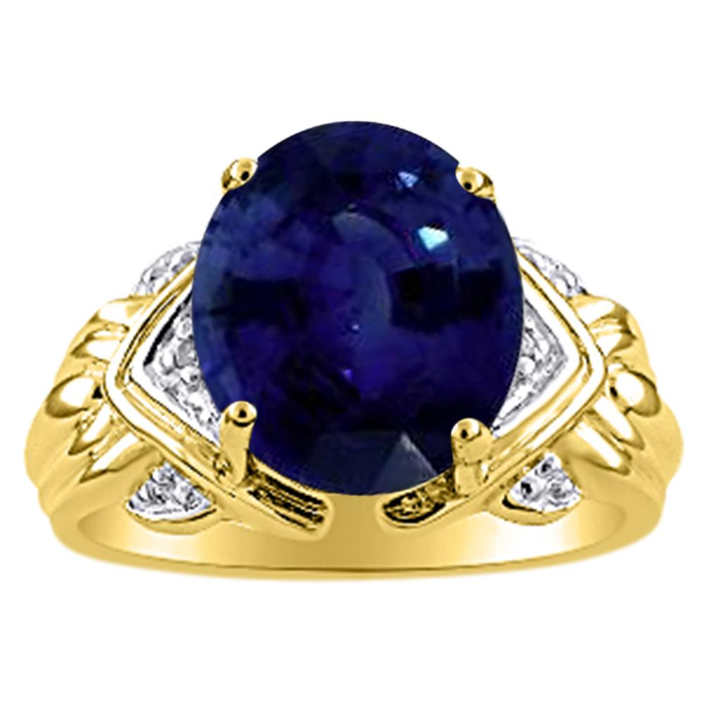 Womens Sapphire & Diamond Ring 14K Yellow Gold
