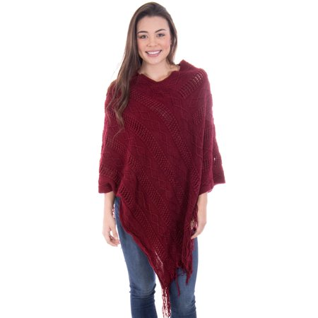 Ponchos for Women Knitted Pullover Sweater Poncho Shawl Burgundy