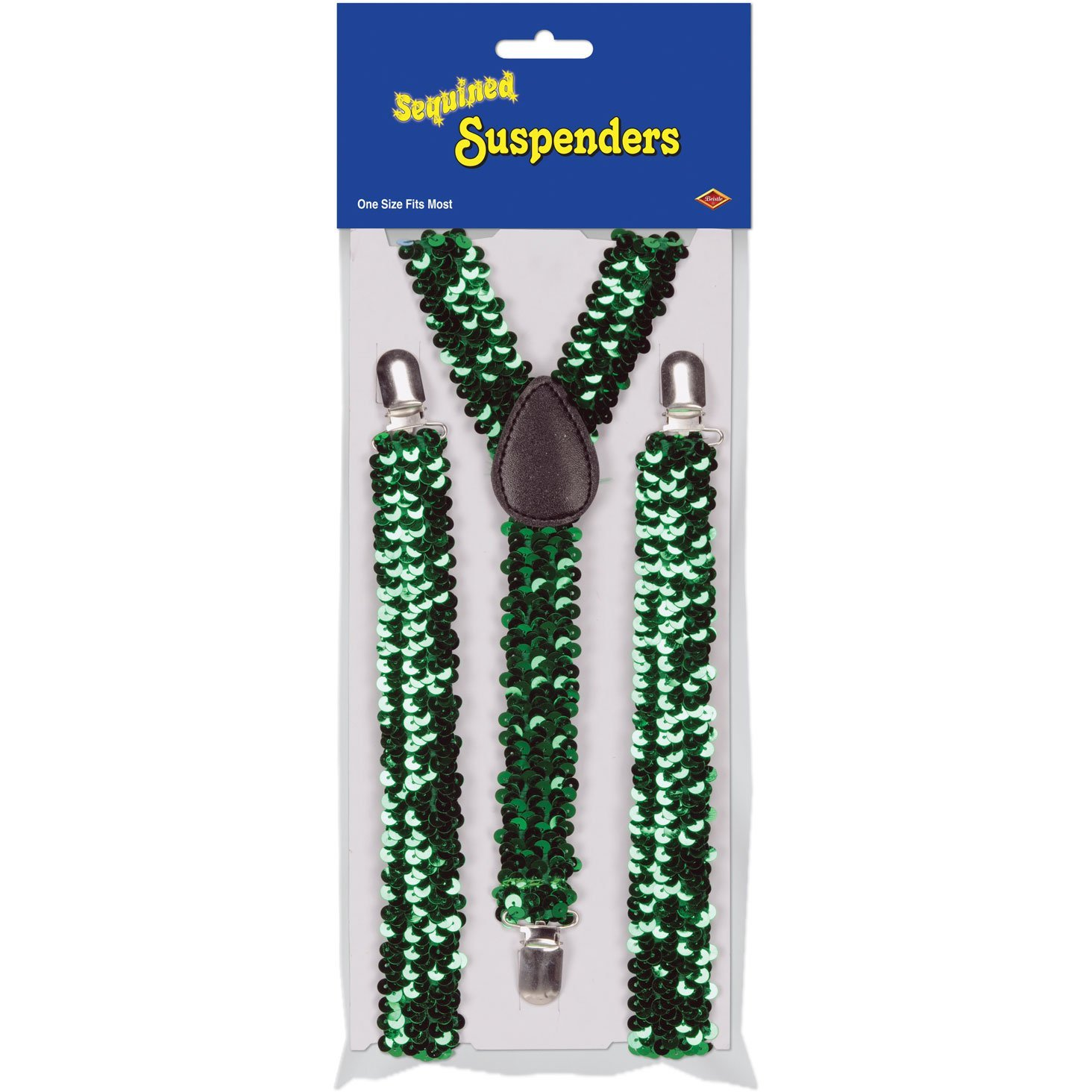 Sequined Suspenders (green; adjustable) Party Accessory  (1 count) (1/Pkg)