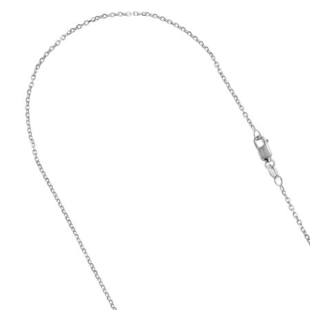 14K Solid White Gold 0.8mm Wide Diamond Cut Cable Link Chain 16 Necklace with Lobster Clasp