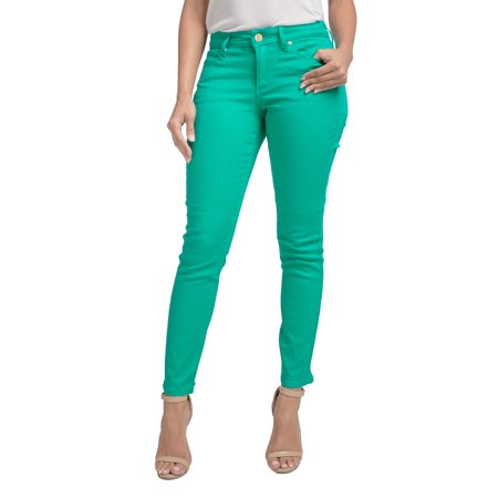 Collar Jeans - Miss Halladay Women Stretch Color Denim Skinny Ankle Jean Curved Inseam Zip Bottom
