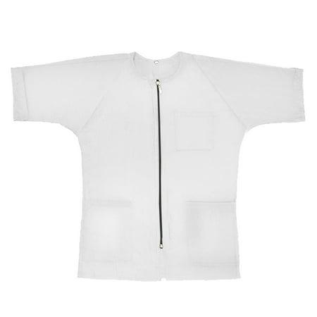 (Price/Piece)Opromo Unisex Men&Women Waterproof Uniform Smock Barber Cape Salon Nylon with Sleeves, Pockets and Zipper-White Insulated Waterproof Uniform