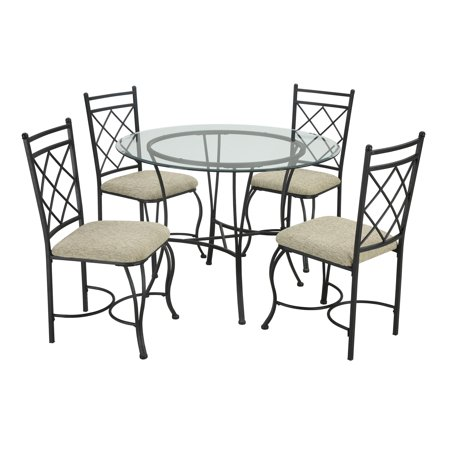 (Mainstays 5-Piece Glass Top Metal Dining Set)