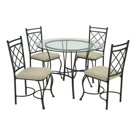 Mainstays 5-Piece Glass Top Metal Dining Set - Walmart.com