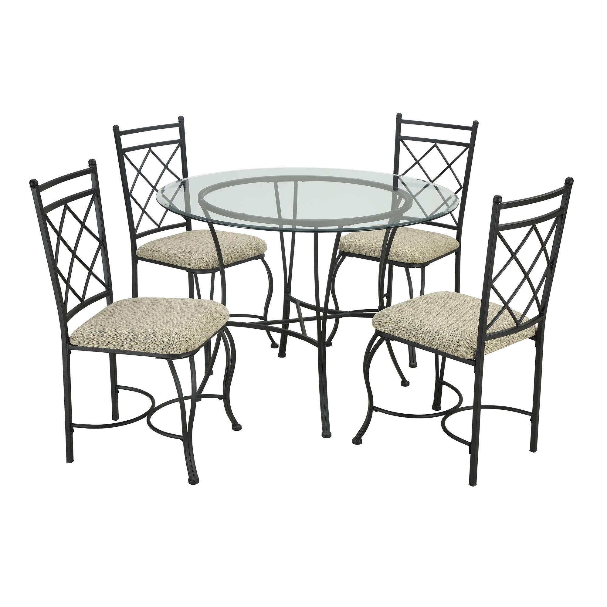 Exceptional Mainstays 5 Piece Glass Top Metal Dining Set