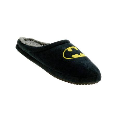 Batman Mens Black Batman Slippers Bat Man Scuffs House Shoes