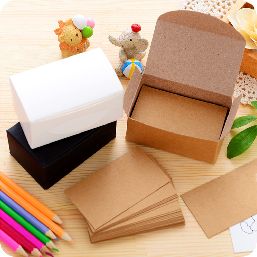 100pcs Double-sided Blank Kraft Paper Business Cards Word Card Message Card DIY Gift Card