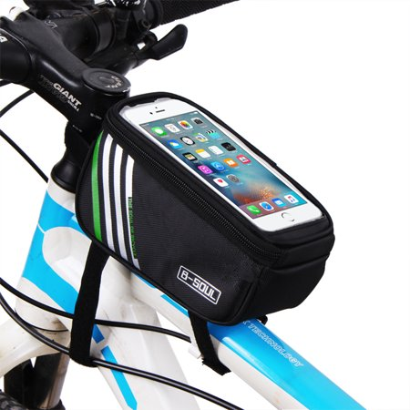 Redcolourful Bicycle Top Tube Phone Bag For 5 7  Screen Size  Bike Frame Strap Attachment Mount Black