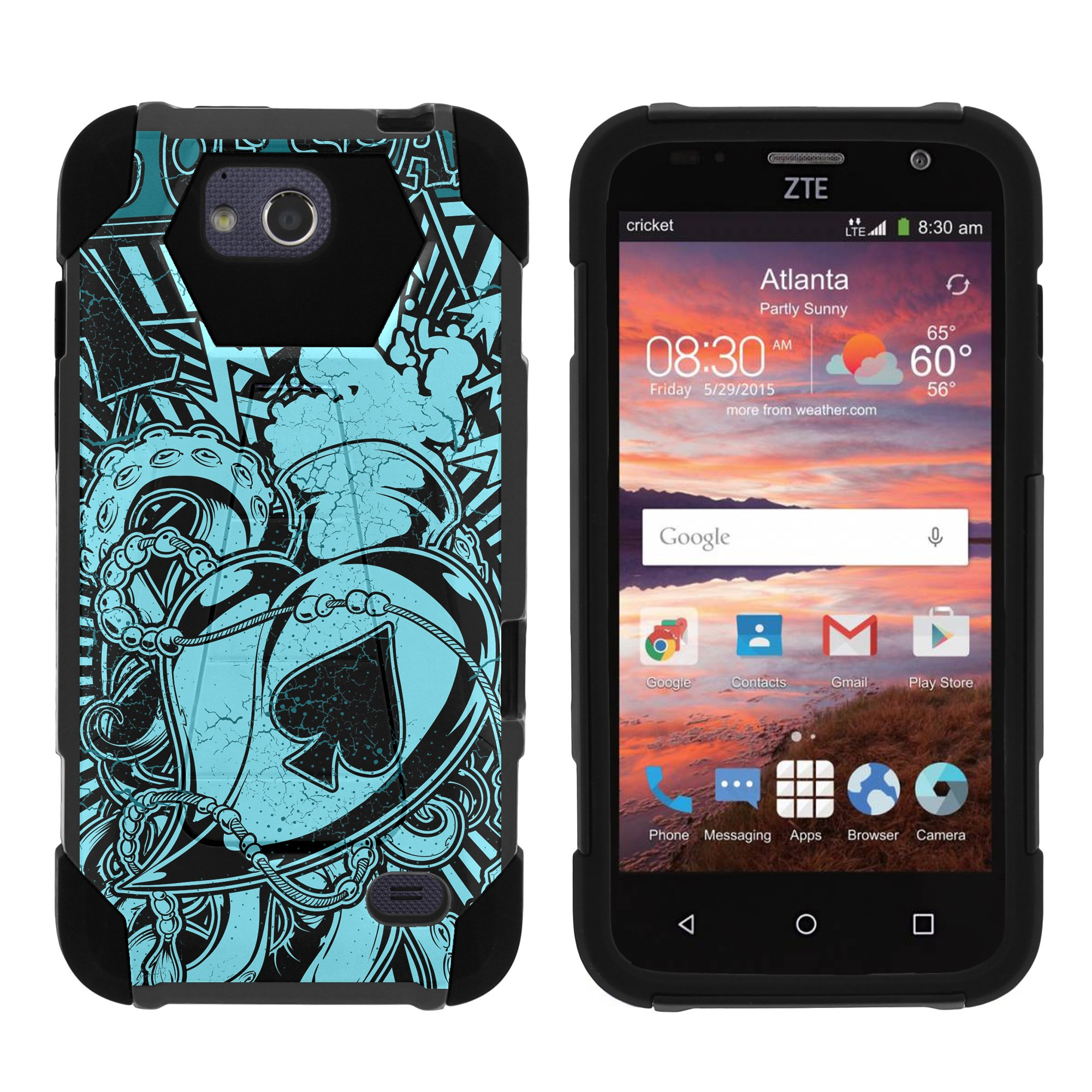 TurtleArmor ® | For ZTE Majesty Pro [Dynamic Shell] Dual Layer Hybrid Silicone Hard Shell Kickstand Case - Ace of Spades Art