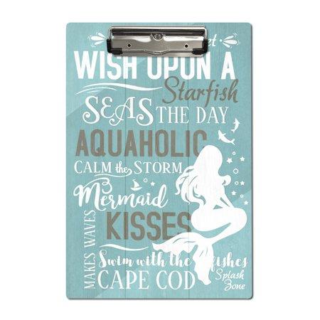 Cape Cod, Massachusetts - Mermaid Typography - Lantern Press Artwork (Acrylic
