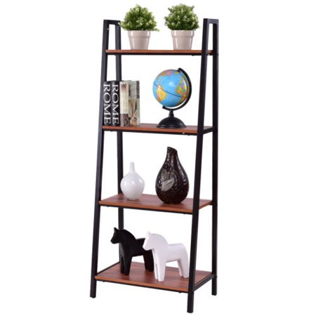 Costway 4-Tier Ladder Book Organizer Bookcase Storage Display Book Shelf (Commercial Wooden Walnut Ladder)