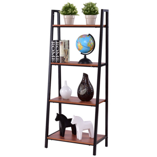 Costway 4-Tier Ladder Book Organizer Bookcase Storage Display Book Shelf Rack
