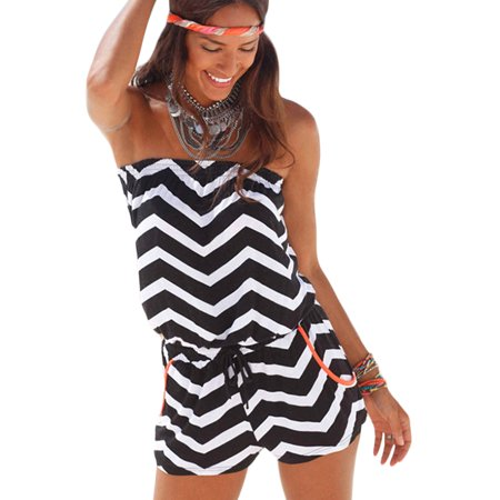 Women Mini Jumpsuit Strapless Striped Playsuits Beach Party Shorts Romper