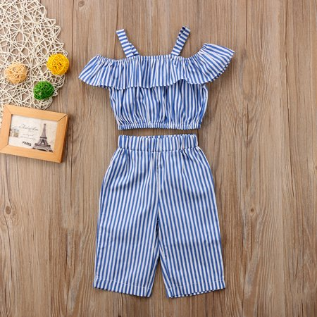 Toddler Baby Girl Kids Striped Crop Top Wide Leg Long Pants Set Jumpsuits