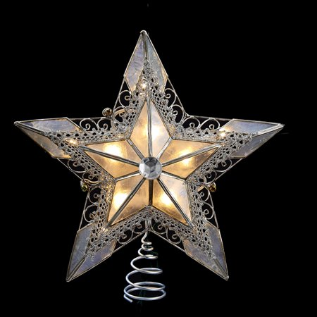 "8"" Lighted Silver Lace Capiz Star with Scroll Design ..."