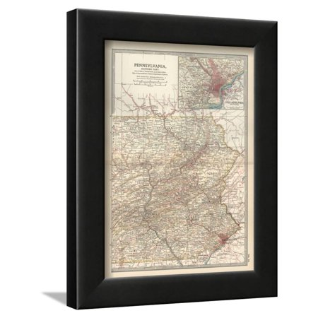 Map of Pennsylvania, Eastern Part. United States. Inset Map of Philadelphia and Vicinity Antique Framed Print Wall Art By Encyclopaedia Britannica ()