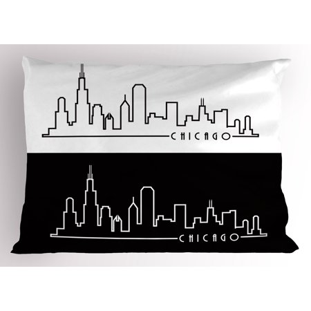 Chicago Skyline Pillow Sham Minimalist Style Urban Plan View City Chart Sketch American Abstract, Decorative Standard Size Printed Pillowcase, 26 X 20 Inches, Black and White, by Ambesonne (Standard Size Chart)