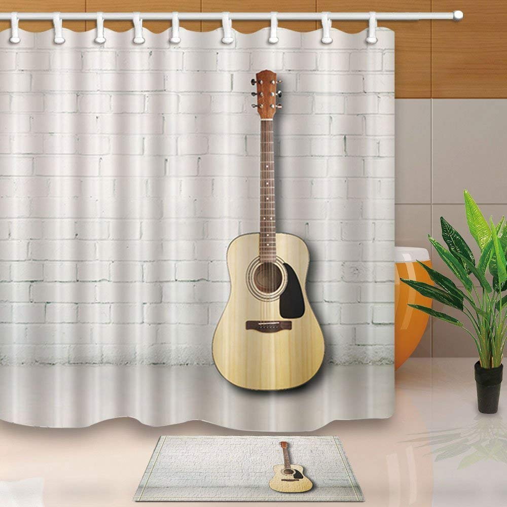 Wopop Acoustic Guitar Against Brick Wall In Empty Room Decor Shower