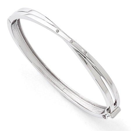 White Ice  03Ct  Diamond Crossover Bangle Bracelet