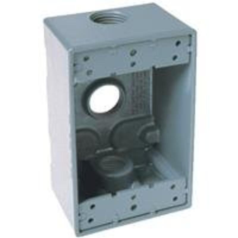 Weatherproof Electrical Box, 1 Gang Gray Outdoor Box Hubbell Outlet Boxes 5911-1