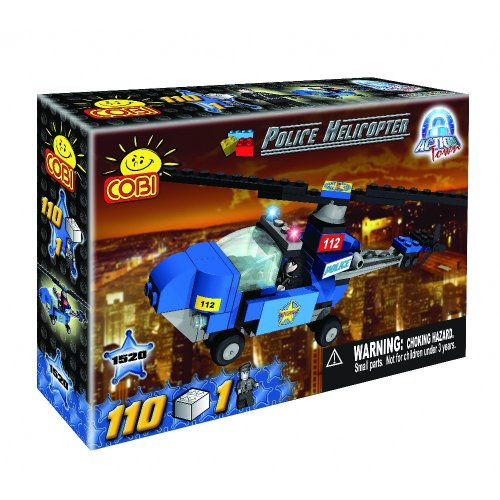 COBI Action Town Police Helicopter Set, 115 Piece Set by
