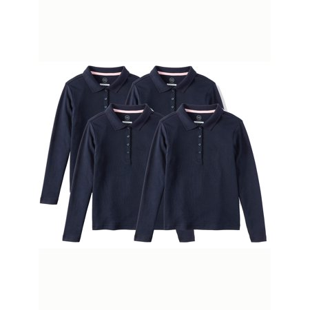 Wonder Nation Girls School Uniform Long Sleeve Interlock Polo, 4-Pack Value Bundle (Back To School Clothes For Girls)