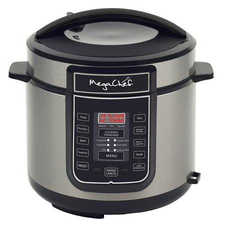 MegaChef 6 Quart Electric Pressure Cooker with 14 Pre-set Multi Function Features