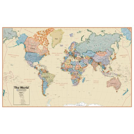 Hemisphere World Boardroom 1 27 Laminated Wall Map   61L X 38H In