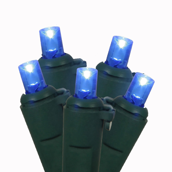 Set of 100 Blue LED Wide Angle Christmas Lights - Green Wire