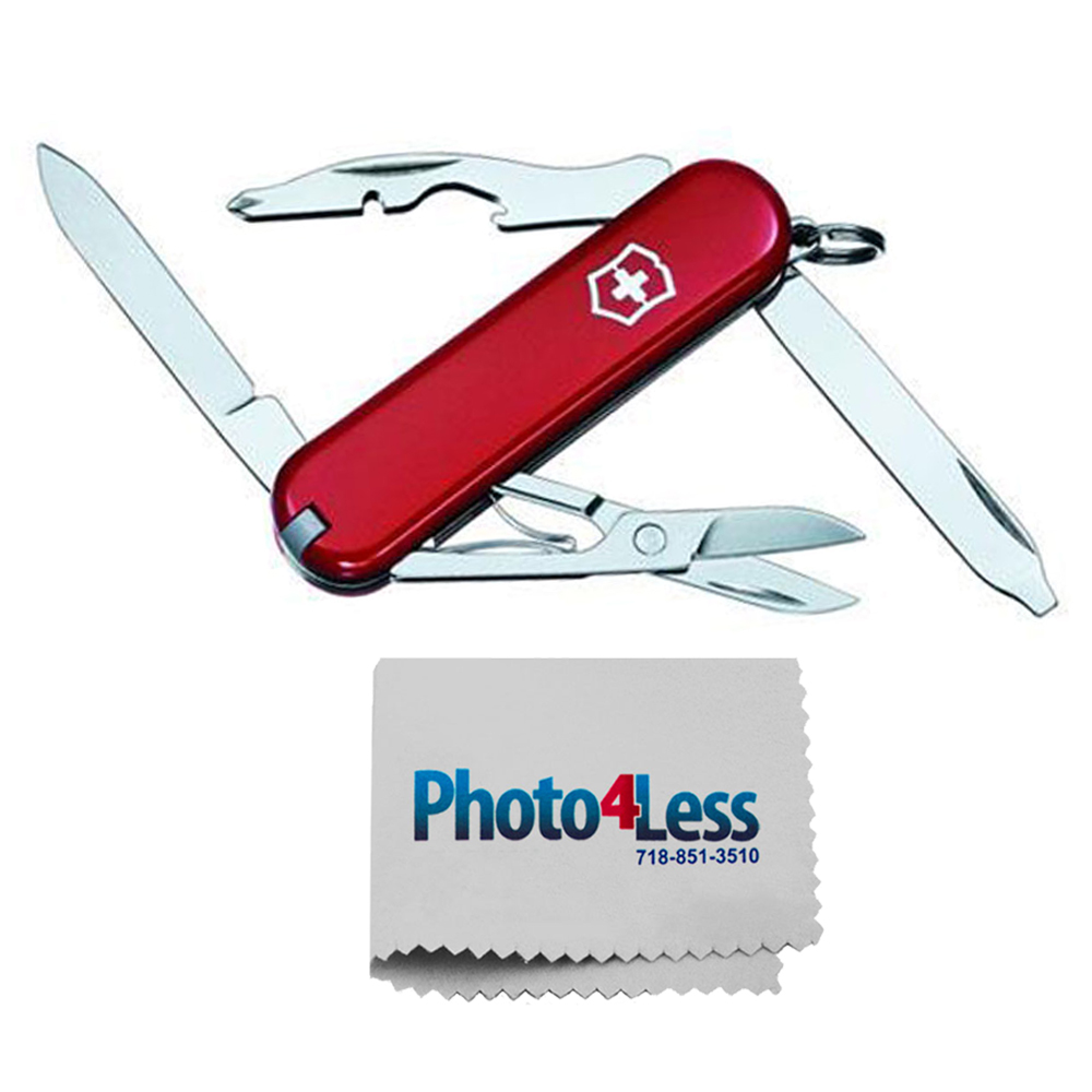Victorinox Swiss Army Rambler Pocket Knife, Red + Photo4less Cleaning Cloth